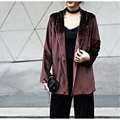Mujer Simple Casual/Diario Primavera Blazer,Cuello Camisero Un Color Manga Larga Poliéster Regular