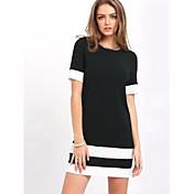 女性用 日常 黒 膝上 ドレス, ソリッド カラーブロック ハーフスリーブ ラウンドネック 春