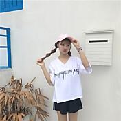 レディース 日常 夏 Tシャツ(21) パンツ スーツ,ソークオフ ラウンドネック ソリッド Appleロゴアイデアデザイン