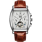 Hombre Reloj Deportivo Reloj Esqueleto Reloj de Moda El reloj mecánico Cuerda AutomáticaCalendario Resistente al Agua Luminoso