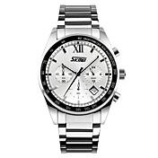 SKMEI Hombre Reloj de Moda Reloj de Pulsera Cuarzo Acero Inoxidable Banda Plata