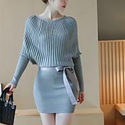 Mujer Corte Bodycon Vestido Casual/Diario Noche Simple,Un Color Escote Redondo Sobre la rodilla Manga Larga Poliéster Verano OtoñoTiro