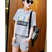 Mujer Casual Deportes Casual/Diario Verano T-Shirt Pantalón Trajes,Escote Redondo Un Color Estampado Manga Corta