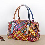 女性 バッグ オールシーズン 牛側 トート 編みひも コンビ のために カジュアル 虹色