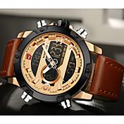 NAVIFORCE Hombre Reloj Deportivo Reloj de Vestir Reloj de Moda Cuarzo Digital LCD Calendario Resistente al Agua Dos Husos Horarios