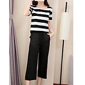 Mujer Simple Otros Casual Verano Camisas Pantalón Trajes,Escote Redondo Un Color A Rayas Manga Corta