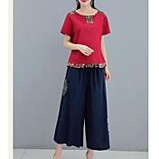 レディース カジュアル/普段着 夏 Tシャツ(21) スカート スーツ,シンプル ラウンドネック ソリッド 仕様 半袖