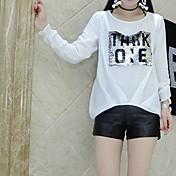Mujer Simple Casual/Diario Camiseta,Escote Redondo Un Color Estampado Manga Larga Algodón