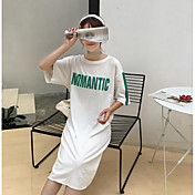 Mujer Simple Casual/Diario Camiseta,Escote Redondo Letra Manga Corta Lino