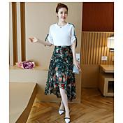 レディース 夏 Tシャツ(21) スカート スーツ ラウンドネック ソリッド フラワー プリント 半袖
