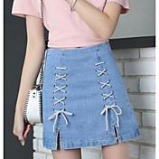 Mujer Chic de Calle Noche Mini Faldas,Línea A Verano Un Color