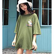 Mujer Bonito Casual/Diario Noche Camiseta,Escote Redondo Un Color Manga Corta Algodón