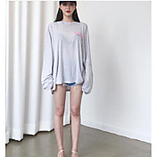 レディース カジュアル/普段着 Tシャツ,シンプル ラウンドネック レタード コットン 長袖