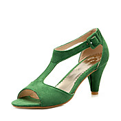 Mujer Zapatos Semicuero Verano Zapatos formales Sandalias Tacón Cono Punta abierta Poroso Verde / Rosa / Borgoña / Fiesta y Noche