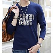 メンズ カジュアル/普段着 Tシャツ,シンプル ラウンドネック プリント レタード その他 長袖