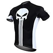 ILPALADINO サイクリングジャージー 男性用 半袖 バイク ジャージー トップス 速乾性 抗紫外線 高通気性 ポリエステル100% スカル 春 夏 レジャースポーツ サイクリング/バイク