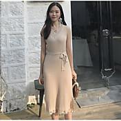 Mujer Vaina Vestido Casual/Diario Simple,Un Color Escote en Pico Midi Sin Mangas Algodón Verano Tiro Alto Microelástico Fino