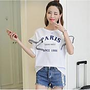 Mujer Simple Casual/Diario Camiseta,Escote Redondo Estampado Letra Manga Corta Algodón Otro
