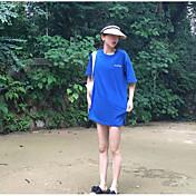 レディース お出かけ Tシャツ,ストリートファッション ラウンドネック レタード コットン 半袖