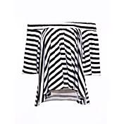 レディース カジュアル/普段着 Tシャツ,シンプル ボートネック ソリッド ストライプ コットン 半袖