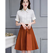 レディース カジュアル/普段着 夏 シャツ スカート スーツ,シンプル シャツカラー ソリッド 半袖