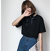 レディース カジュアル/普段着 Tシャツ,シンプル ラウンドネック レタード コットン 半袖