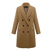 レディース お出かけ カジュアル/普段着 ワーク プラスサイズ 冬 コート,シンプル ヴィンテージ ストリートファッション ピーターパンカラー ソリッド ロング ナイロン 長袖 特大の