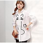 Mujer Simple Casual/Diario Camisa,Escote Cuadrado Estampado Manga Corta Algodón