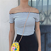 Mujer Simple Bonito Casual/Diario Camiseta,Escote Barco A Rayas Manga Corta Algodón
