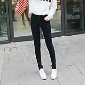 Mujer Sencillo Tiro Medio Microelástico Ajustado Vaqueros Pantalones,Pitillo Un Color