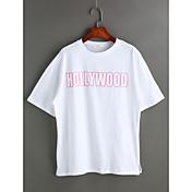 Mujer Casual Diario Camiseta,Escote Redondo Un Color Letra Manga Corta Algodón