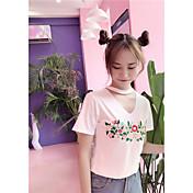 レディース カジュアル/普段着 Tシャツ,シンプル キュート Vネック 刺繍 コットン 半袖