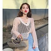 Mujer Regular Pullover Casual/Diario Un Color Escote Redondo Manga Larga Poliéster Primavera Verano Fino Elástico