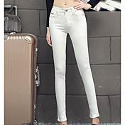 Mujer Casual Tiro Medio Microelástico Ajustado Vaqueros Pantalones,Un Color Verano