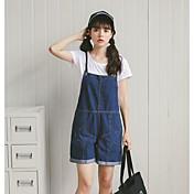 Mujer Simple Casual/Diario Verano T-Shirt Pantalón Trajes,Escote Redondo Un Color Sin Mangas