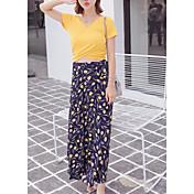 Mujer Simple Casual/Diario Verano T-Shirt Falda Trajes,Escote en Pico Estampado Manga Corta