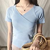 Mujer Simple Casual/Diario Verano Camiseta,Escote en Pico Un Color Manga Corta Lino Medio
