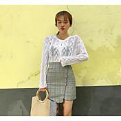 Mujer Regular Pullover Casual/Diario Un Color Escote Redondo Manga Larga Poliéster Otoño Medio Microelástico