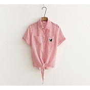 レディース カジュアル/普段着 夏 シャツ,シンプル シャツカラー ストライプ プリント コットン 半袖
