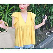Mujer Simple Casual/Diario Camisa,Escote en Pico Un Color Sin Mangas Algodón
