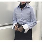 レディース お出かけ シャツ,シンプル シャツカラー ストライプ コットン 長袖