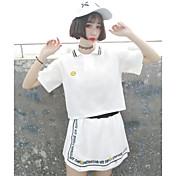 Mujer Simple Casual/Diario Verano T-Shirt Pantalón Trajes,Cuello Camisero Refranes y citas Manga Corta