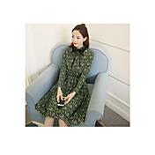Mujer Gasa Vestido Casual/Diario Simple,Floral Escote Redondo Sobre la rodilla Manga Larga Poliéster Verano Tiro Medio Rígido Fino