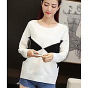 Mujer Simple Casual/Diario Camiseta,Escote Redondo Bloques Manga Larga Algodón