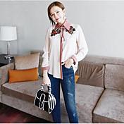 Mujer Simple Casual/Diario Camisa,Escote Chino Estampado Manga Larga Otro