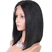 Mujer Pelucas de Cabello Natural Cabello humano Encaje Completo Encaje Frontal Integral sin Pegamento 130% Densidad Liso Peluca Negro