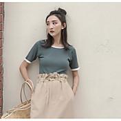 Mujer Simple Casual/Diario Camiseta,Escote Redondo Un Color Manga Corta Acrílico