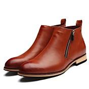 Hombre Zapatos Cuero Patentado Invierno Otoño Botas hasta el Tobillo Botas para Casual Oficina y carrera Fiesta y Noche Negro Marrón
