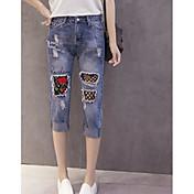 Mujer Sencillo Tiro Medio Microelástico Vaqueros Pantalones,Delgado Floral