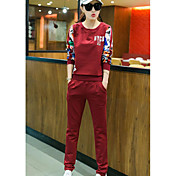 Mujer Simple Casual/Diario Verano T-Shirt Pantalón Trajes,Escote Redondo Estampado Manga Larga